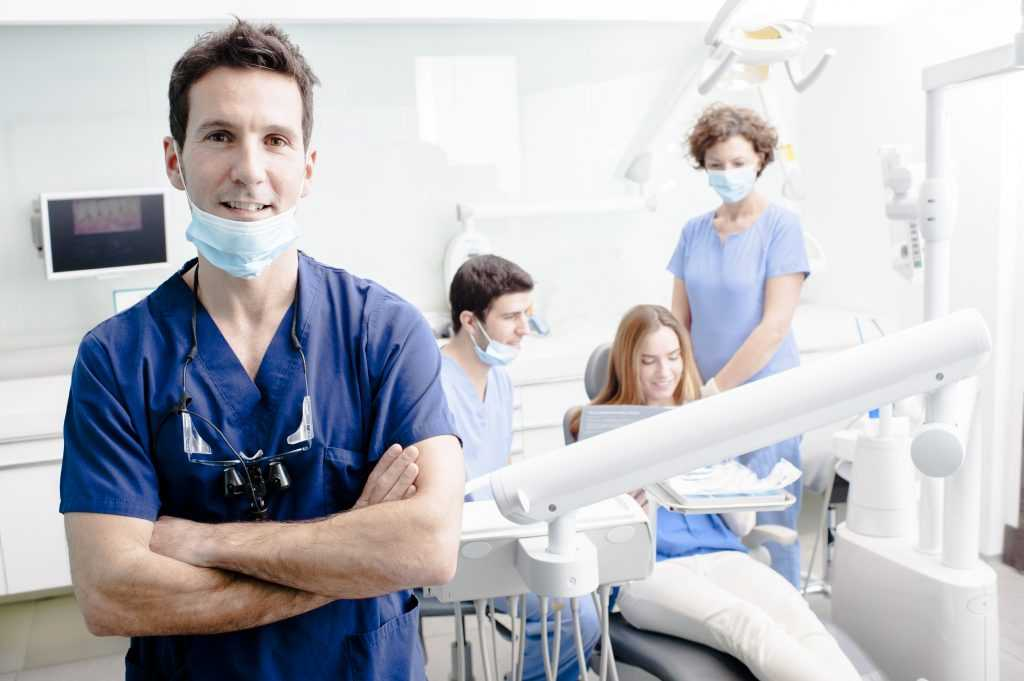 Dentist during a patient consultation