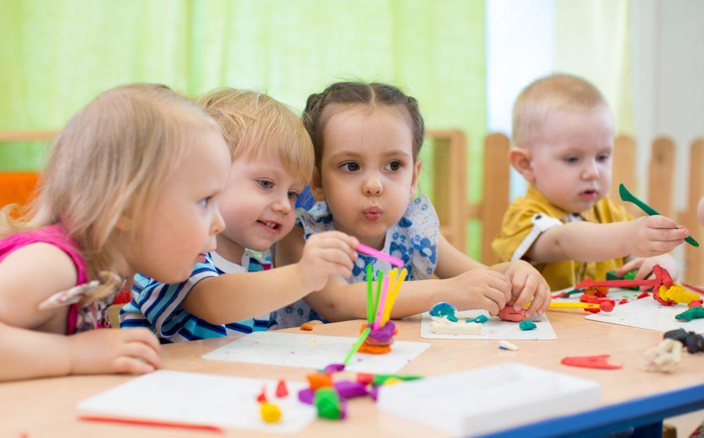 Kids making arts and crafts together