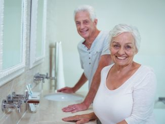 Elderly couple in a bathroom