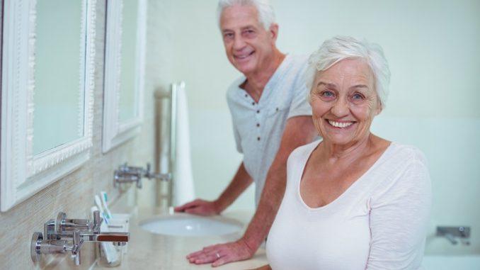 Elderly couple in a bathroom