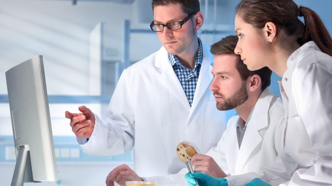 Medical lab assistants looking at a monitor