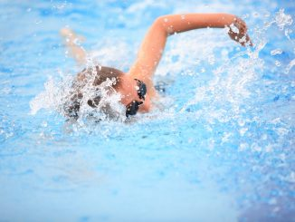 a woman swimming