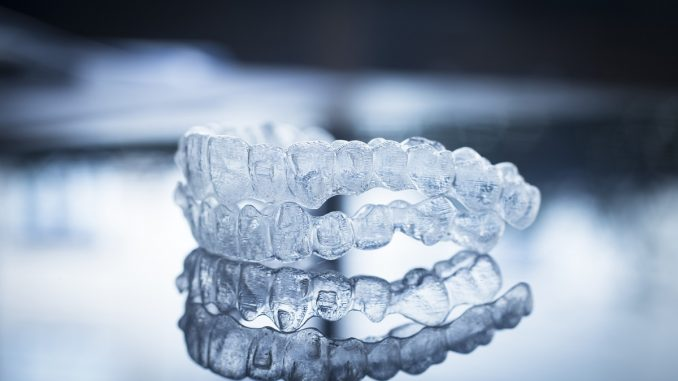 A pair of Invisalign braces