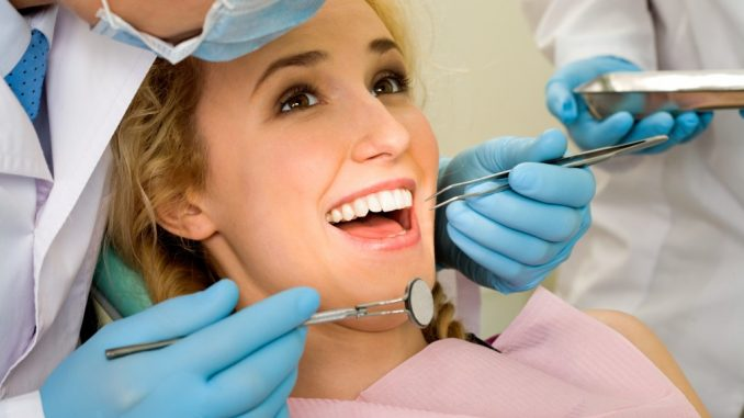 a woman about to undergo oral surgery