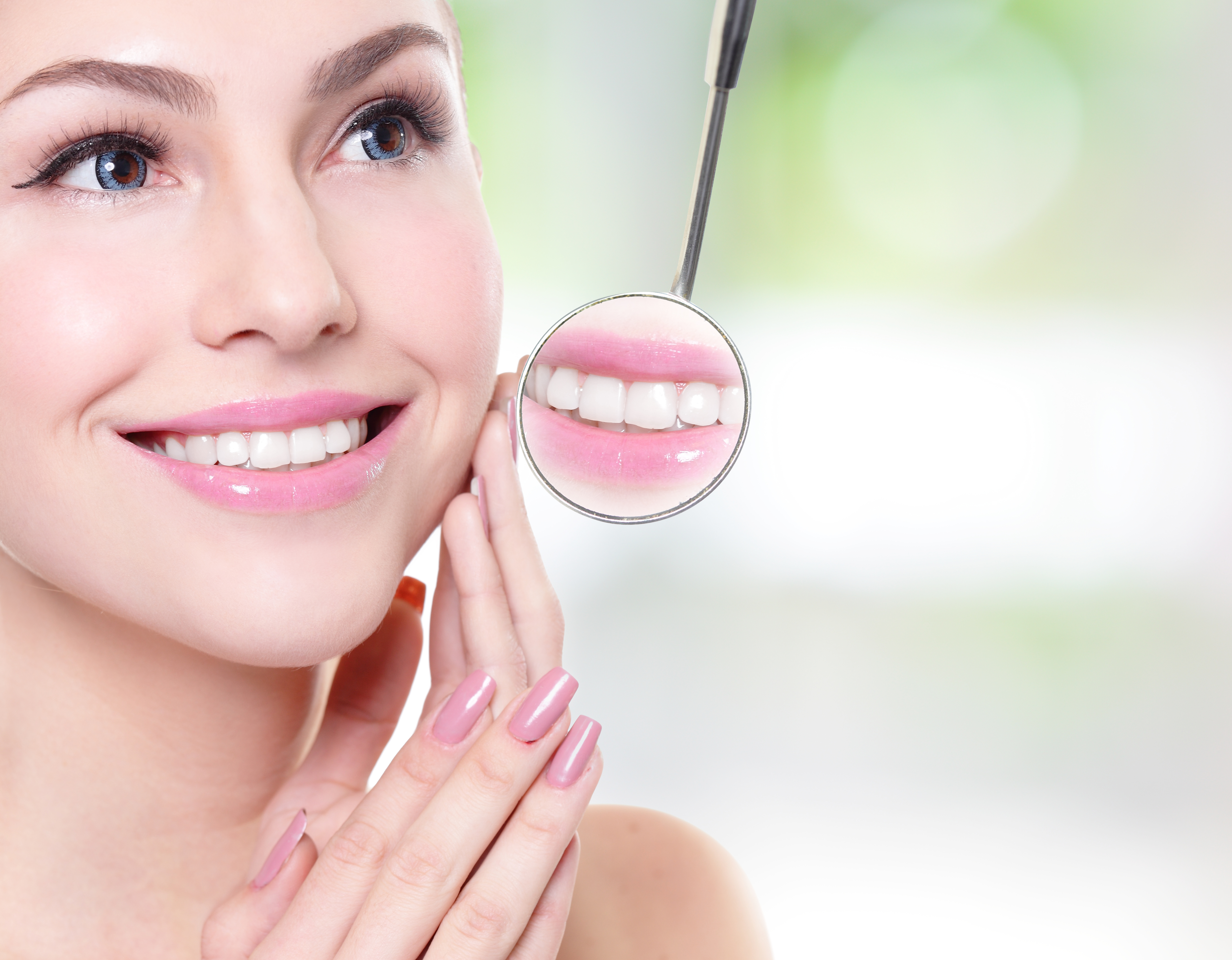 Woman with dental implants