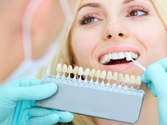 Woman getting dental implants