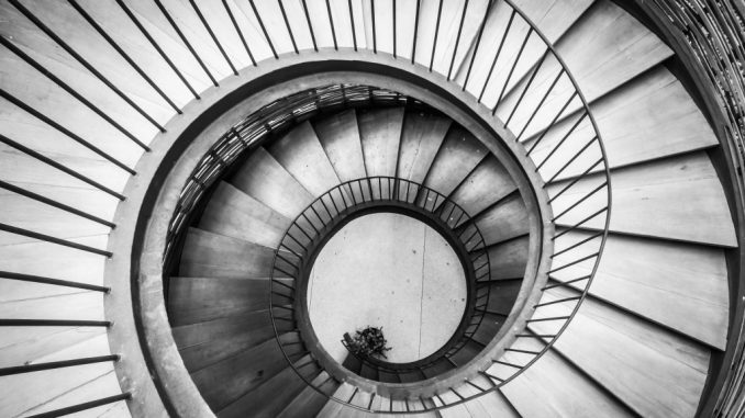 photo of a black and white staircase