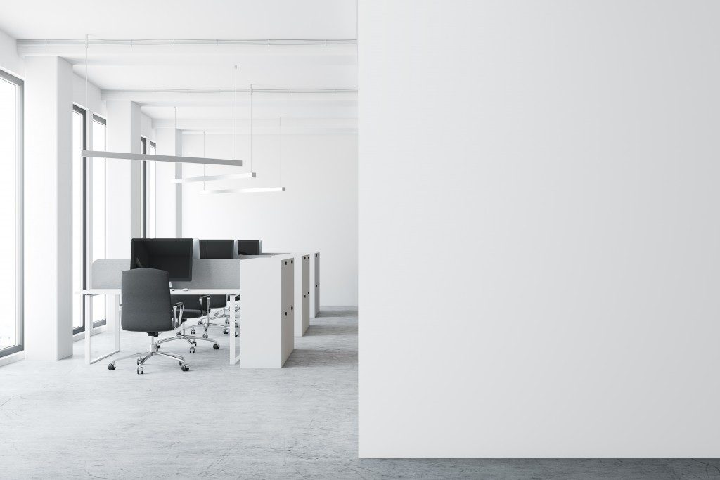 Office with black and white motif