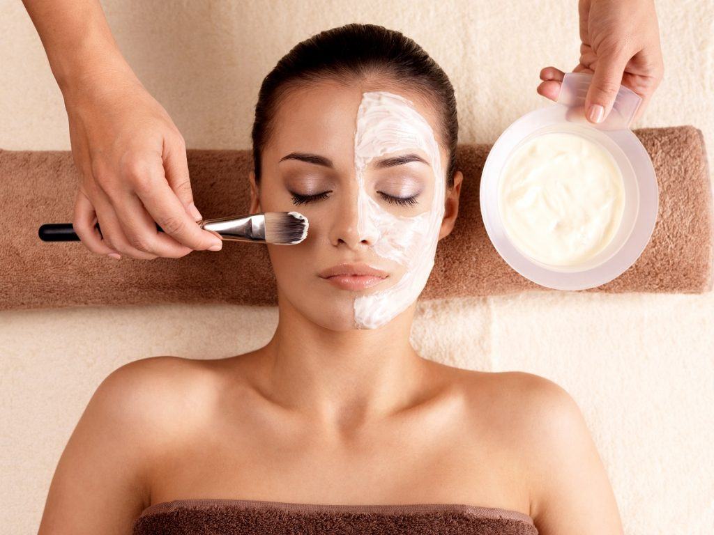 Woman in a spa for a facial treatment