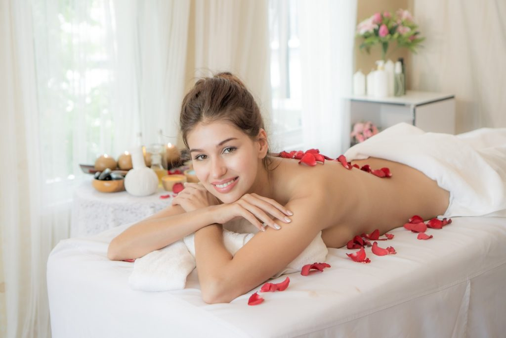 Woman at a spa with glowing skin