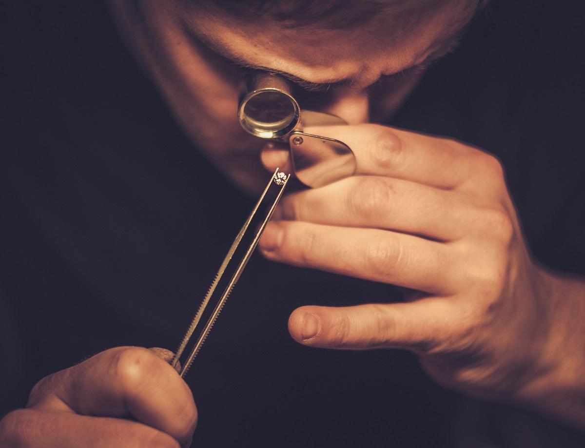 Jeweler examining a diamond