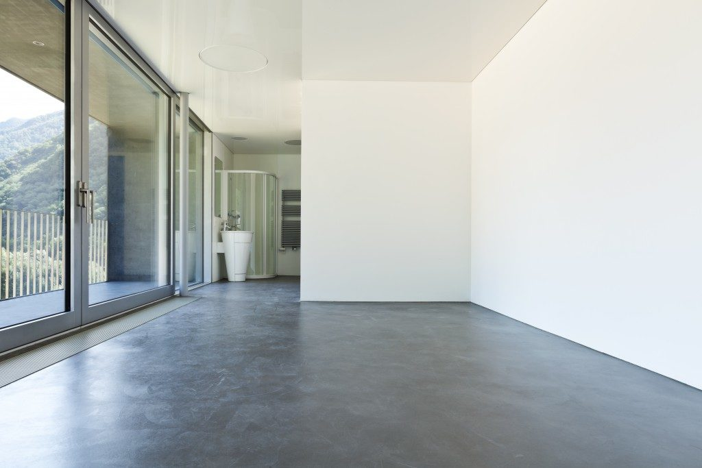 Empty room concrete floor