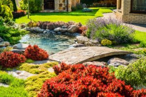 backyard landscape with artificial pond