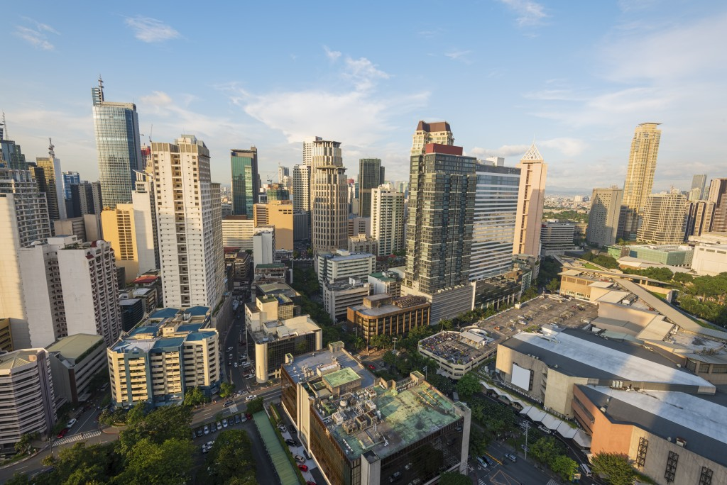 Makati central business district skyline in the afternoon