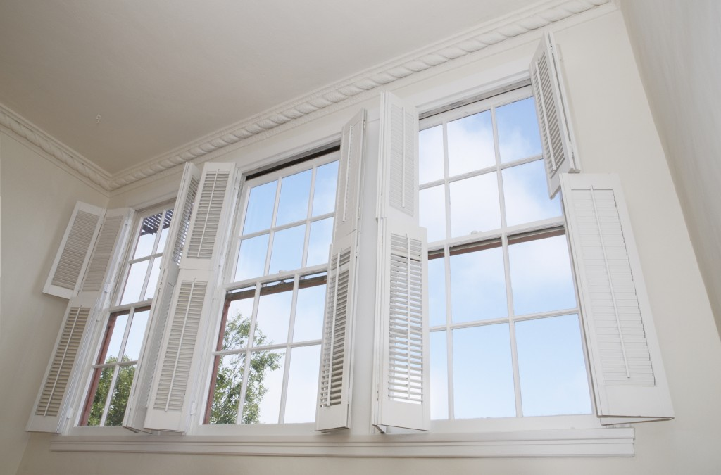windows with louver shutters