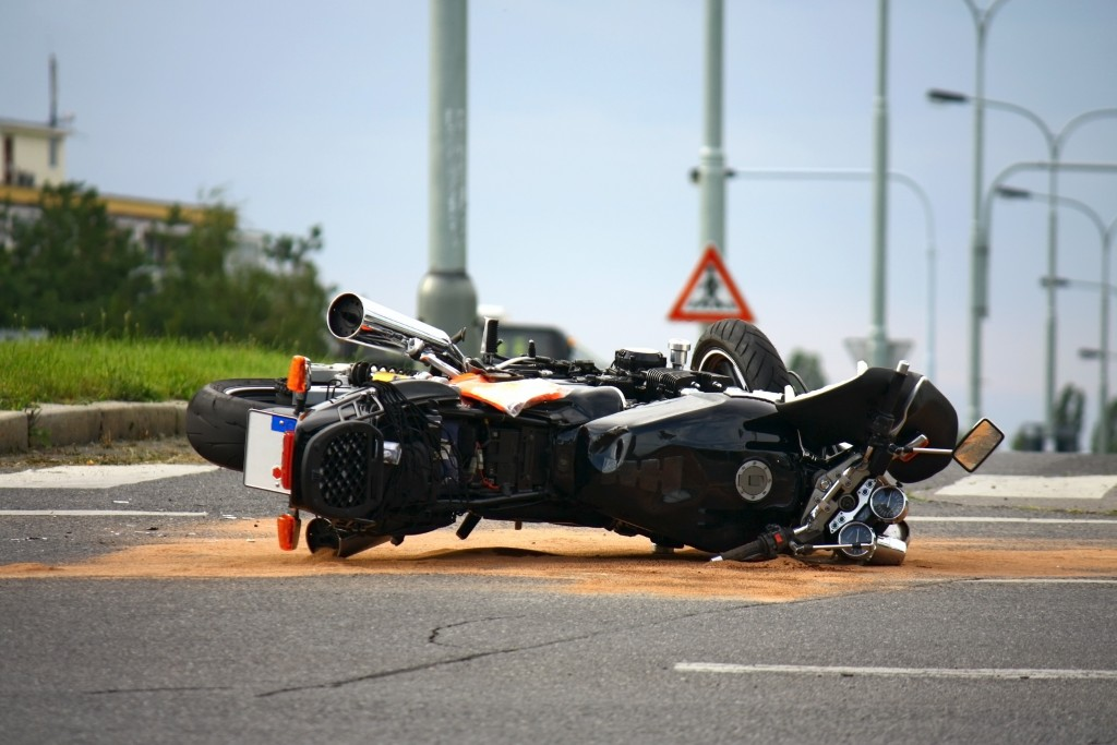 motorcycle in a road accident