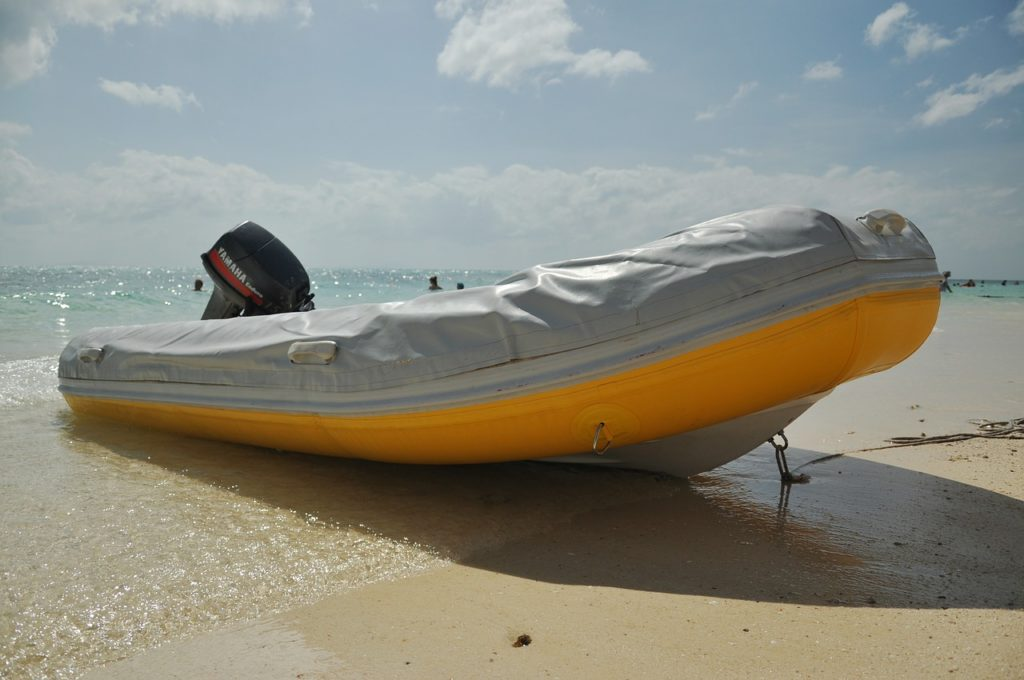 Inflatable boat on shore