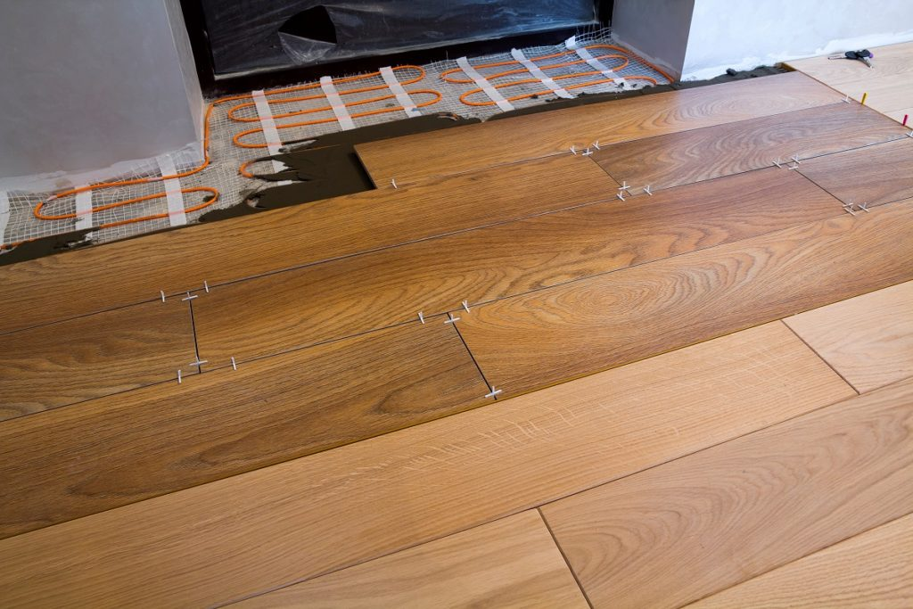 wood tile planks being cemented