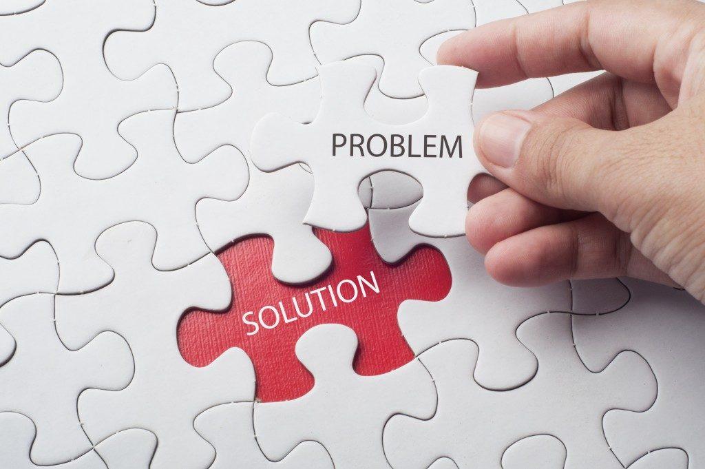 Solving business problem concept. Puzzel piece