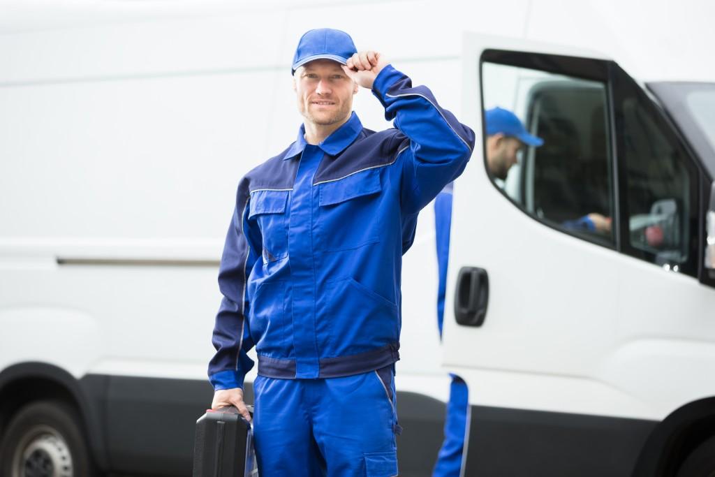 worker infront of sprinter van