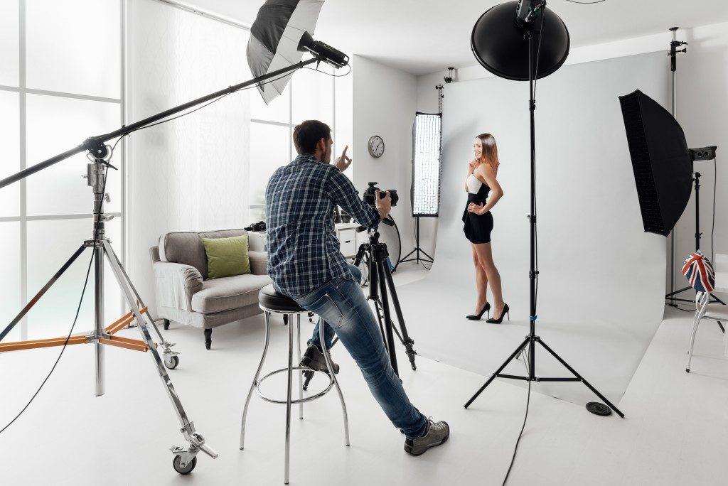 Model posing for a shoot
