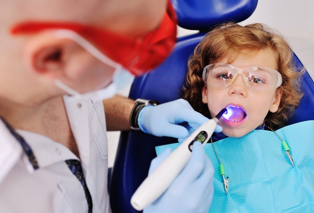 child in a dental clinic