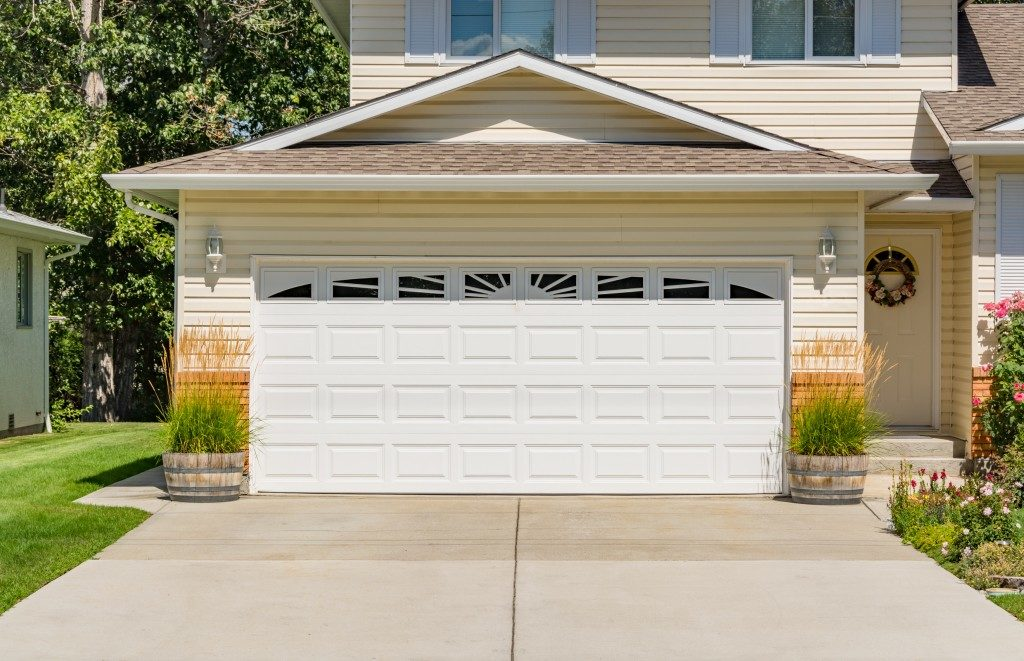 garage door of suburban home