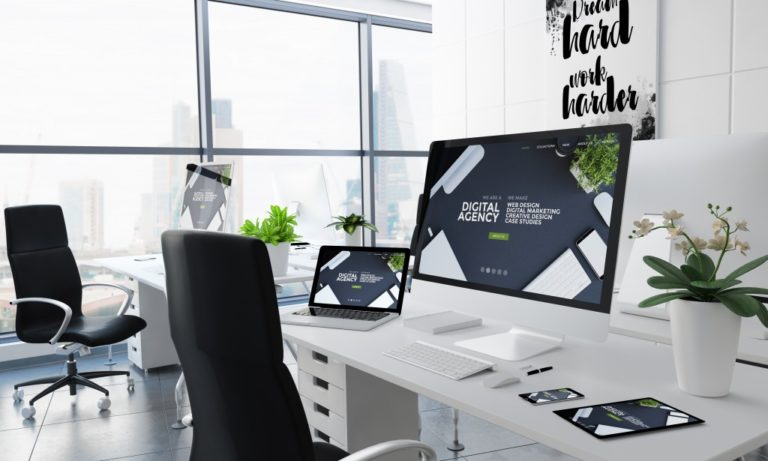 large office desk space