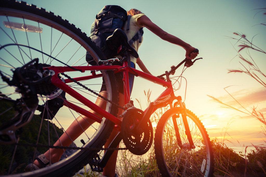 bicycle watching sunset