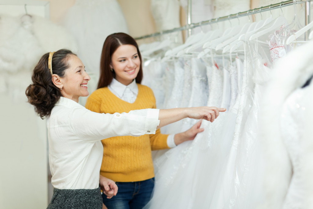 Bride-to-be choosing her gown