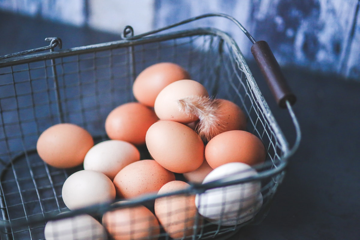 eggs in metal basket