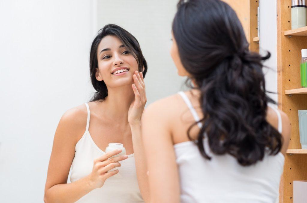 Applying skincare
