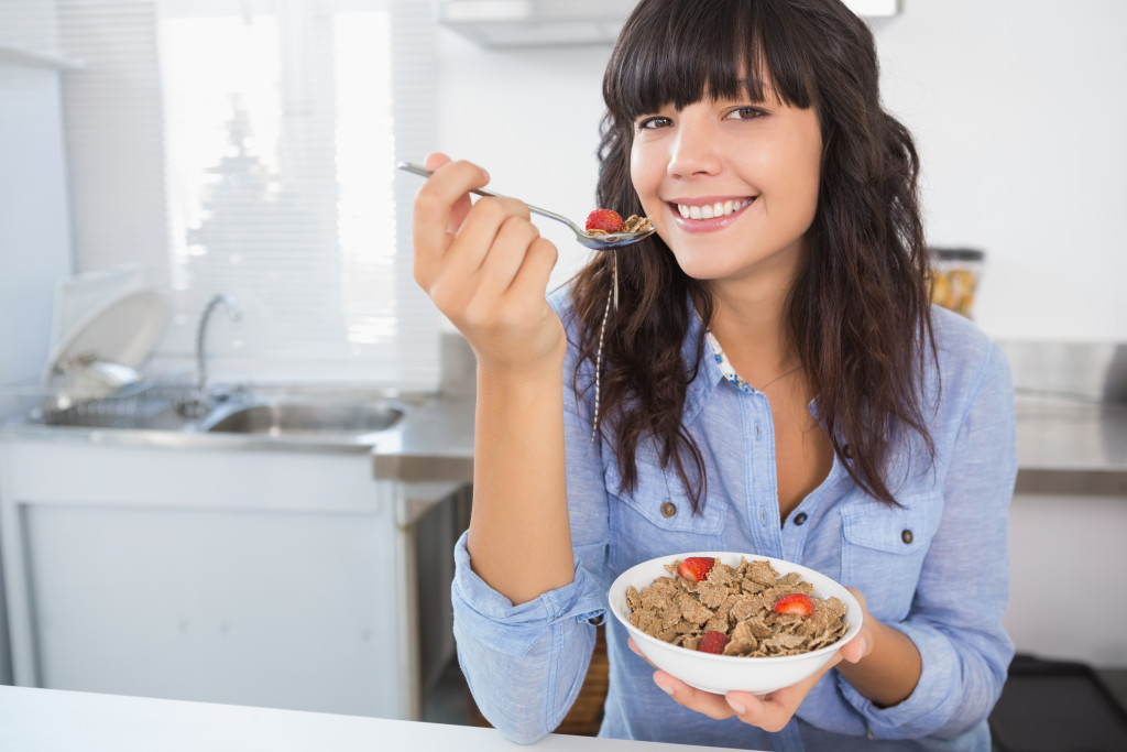 eating cereal and fruit