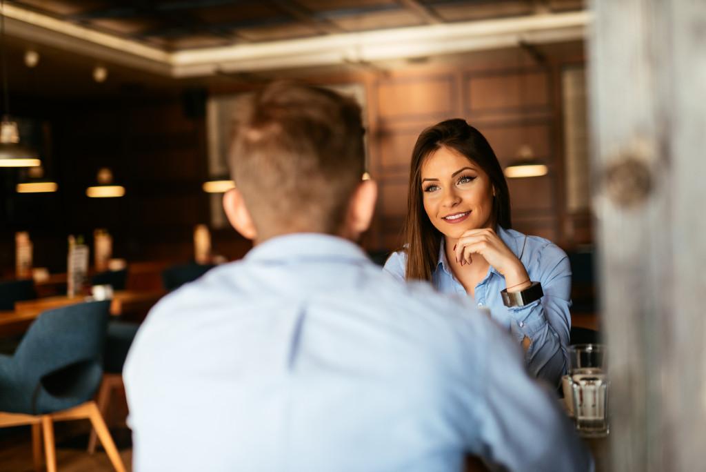 talking inside a restaurant