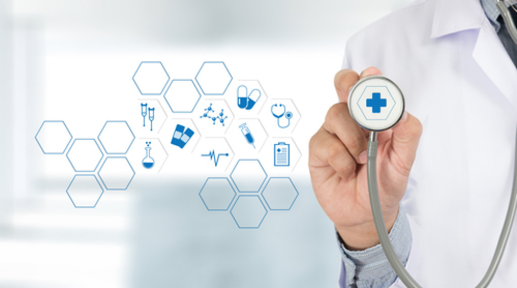 stethoscope and icons related to healthcare