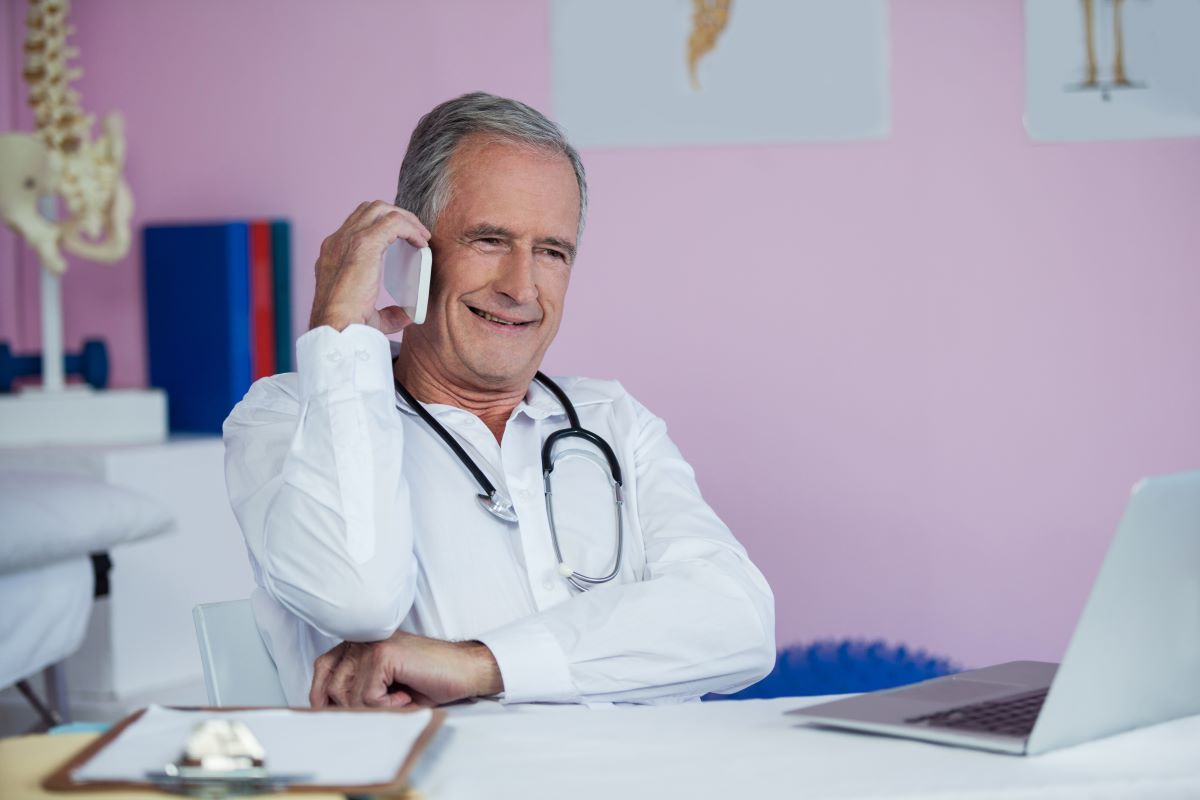 doctor talking on the phone