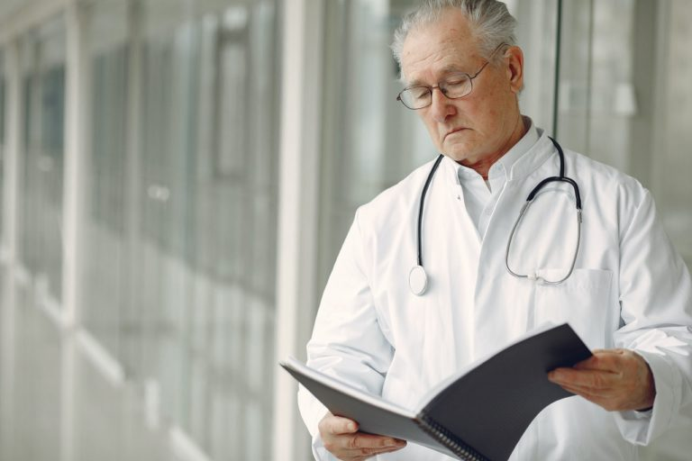 doctor reading a book