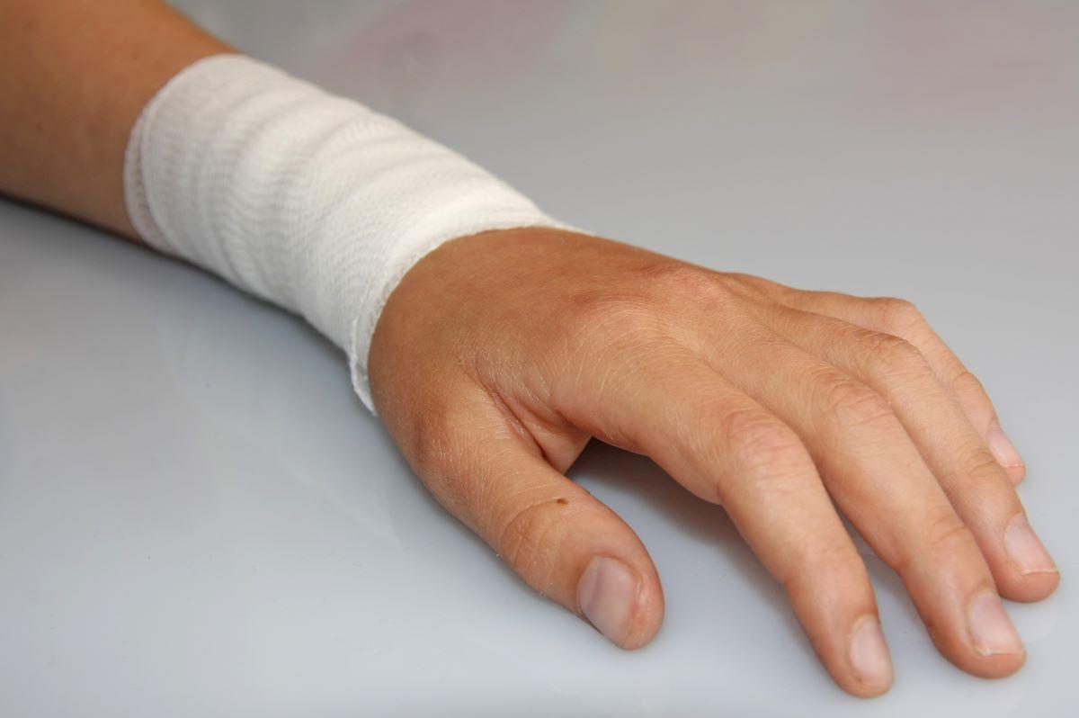 bandage on arm due to skin lesion