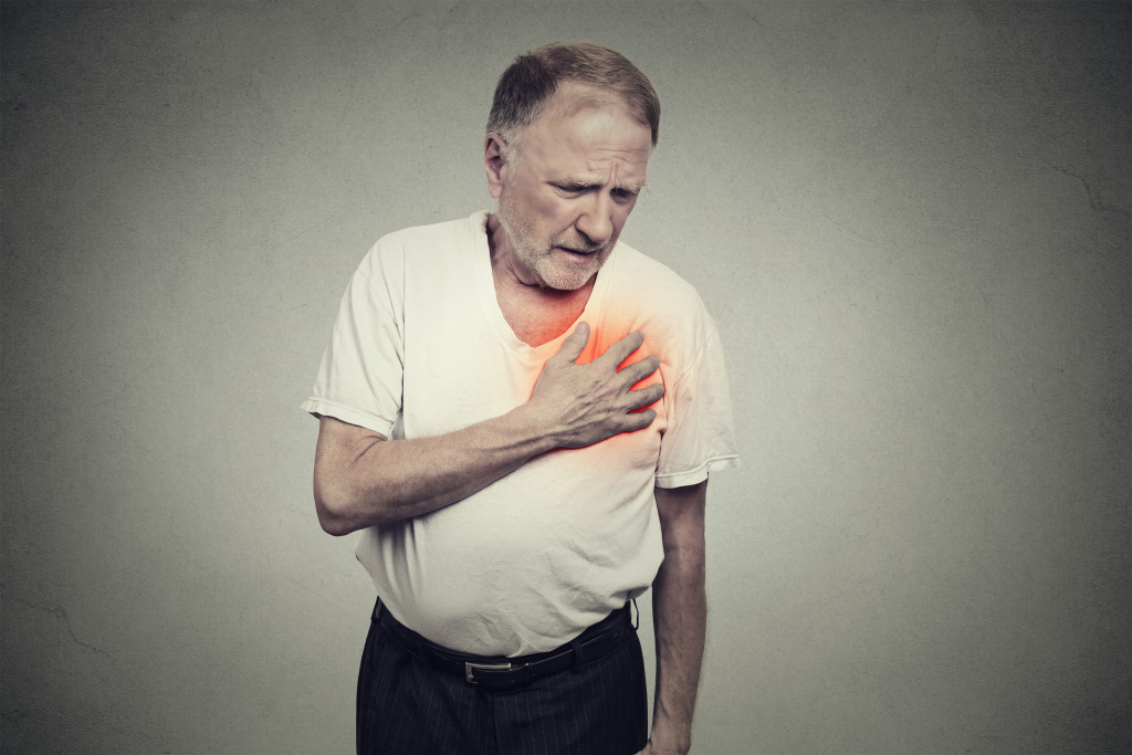 person having chest pains